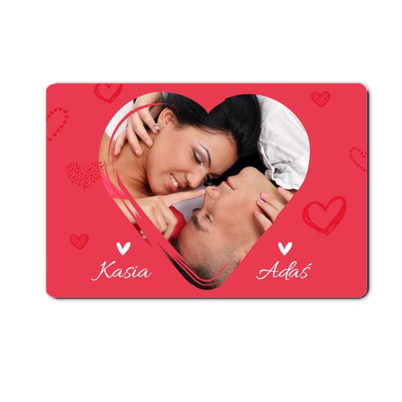 Magnes na lodówkę ze zdjęciem dla zakochanych serce 15 x 10 cm