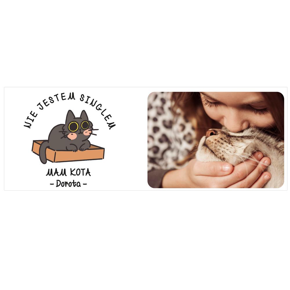 Personalizowany kubek ze zdjęciem własnego kota nie jestem singlem mam kota