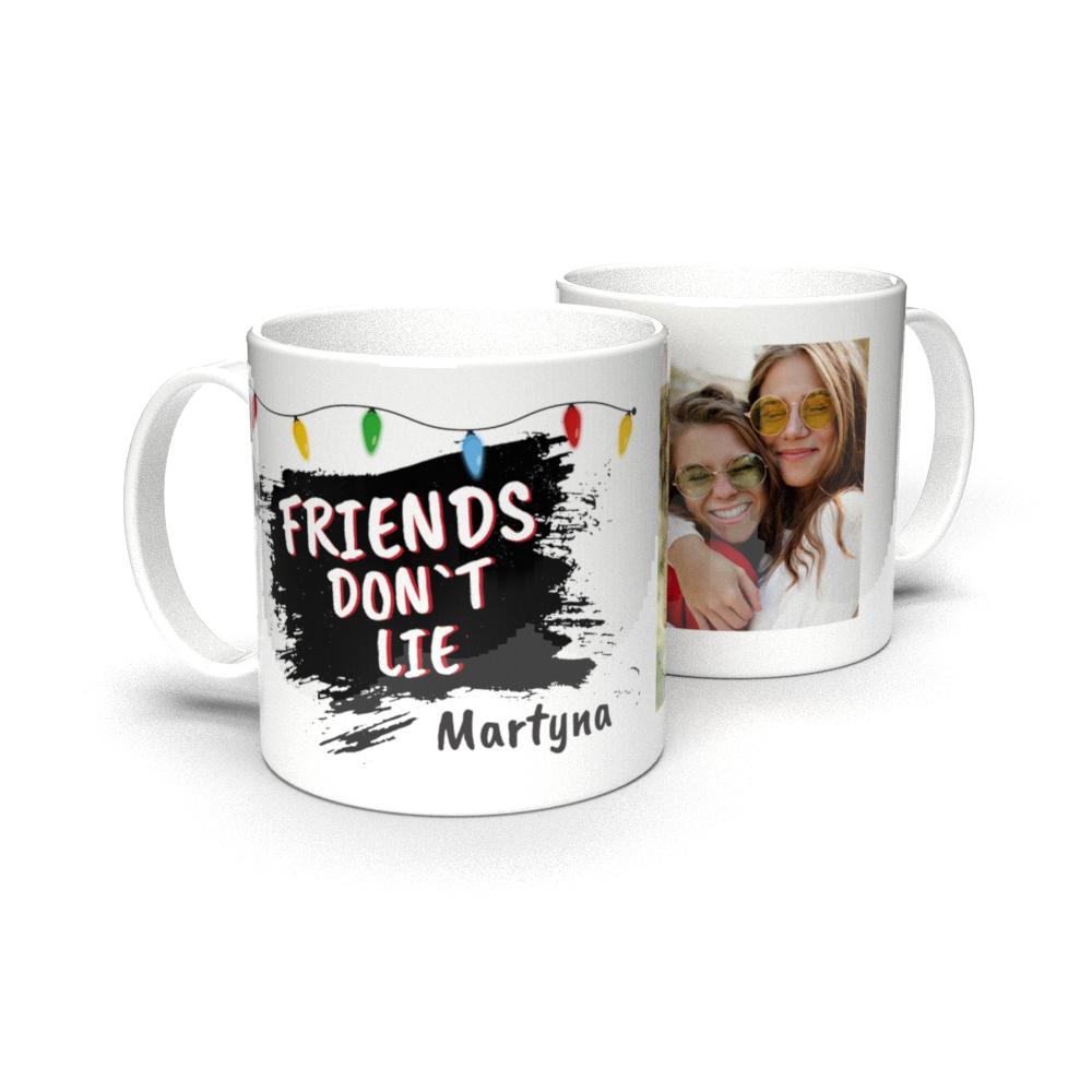 Kubek personalizowany ze zdjęciem Stranger Things przyjaciele nie kłamią