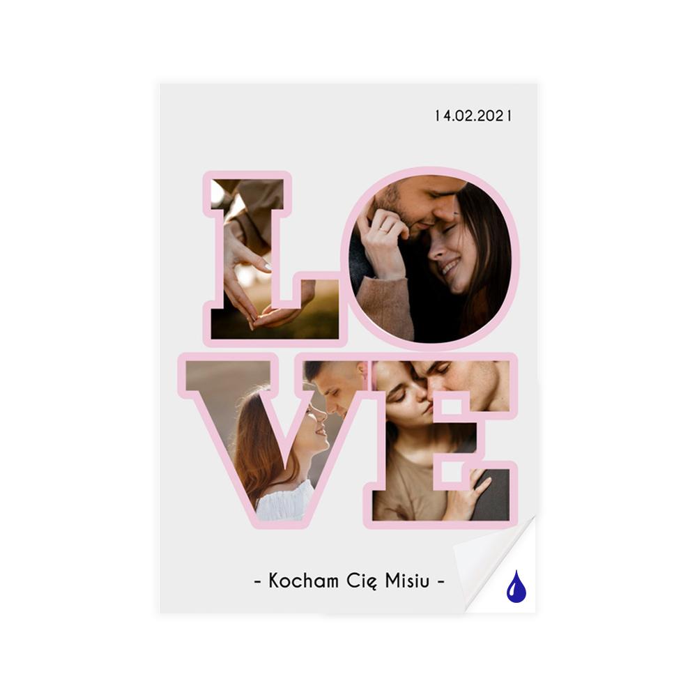 foto Plakat samoprzylepny B2 ze zdjęciem i datą LOVE