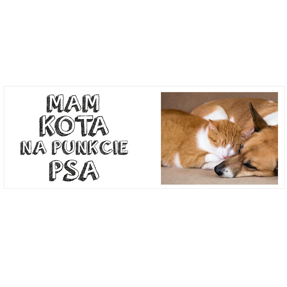 Kubek personalizowany ze zdjęciem mam kota na punkcie psa