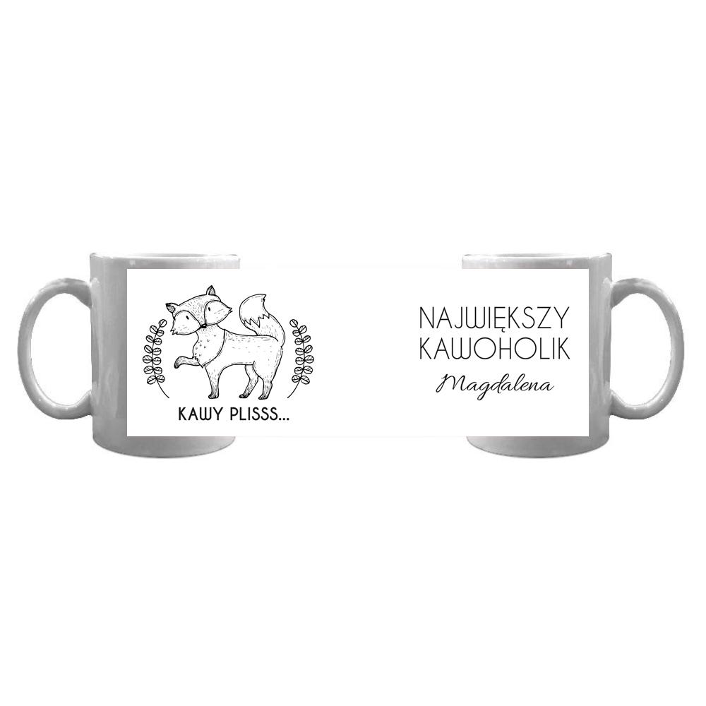 Kubek personalizowany dla kawoholika lis kawosz