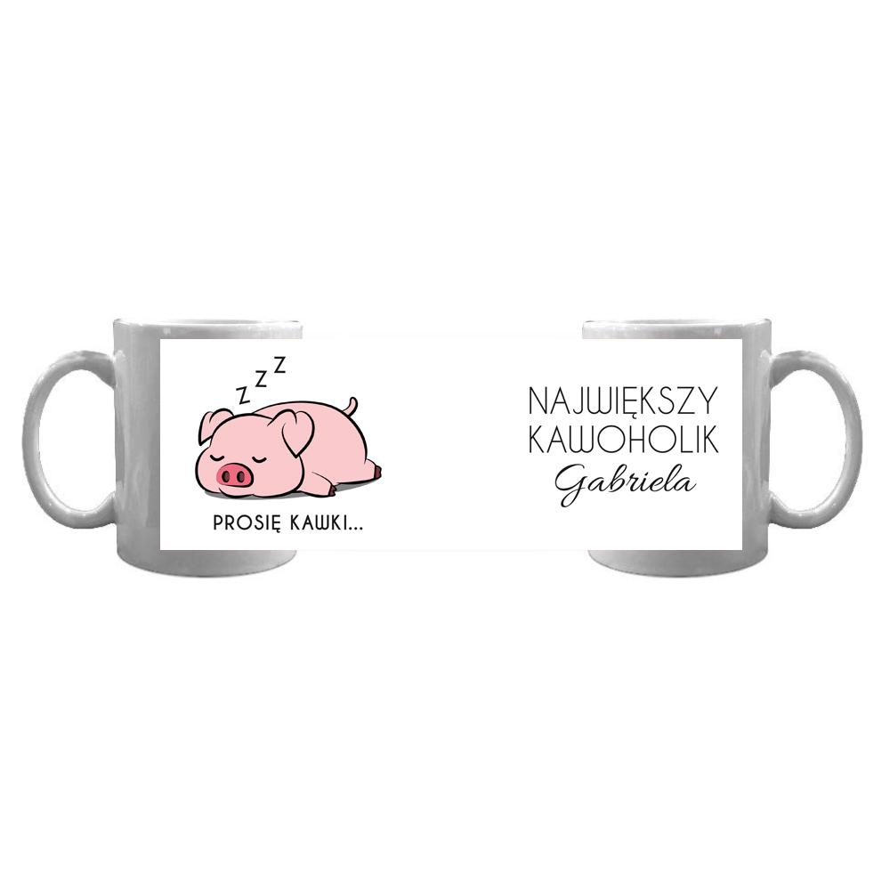Kubek personalizowany dla kawoholika świnka prosię kawki
