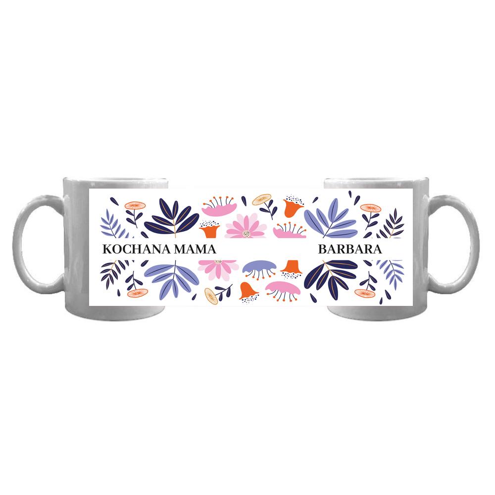 Kubek personalizowany od dziecka dla kochanej mamy kwiatowy