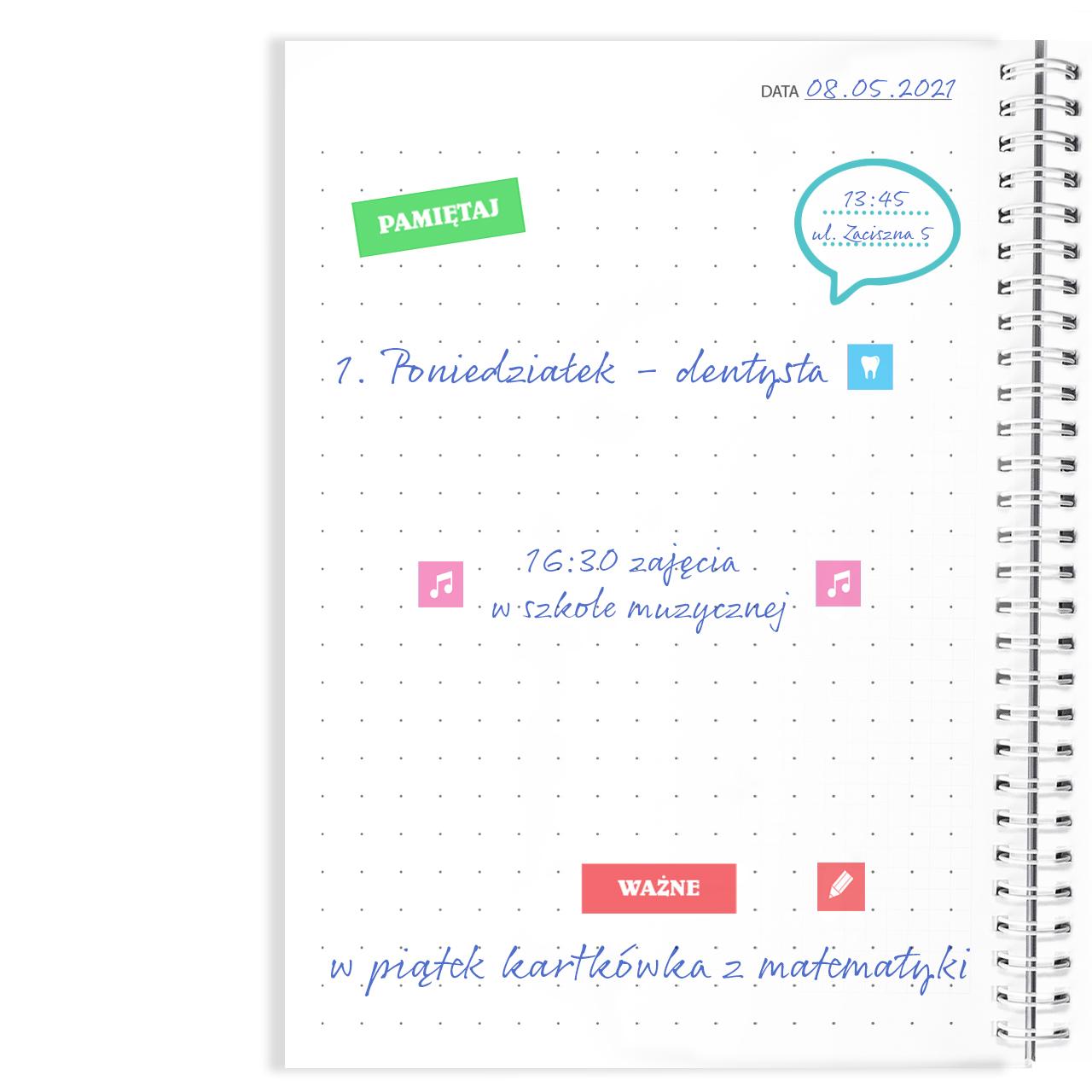 Notatnik notes personalizowany z imieniem dla nauczyciela napięty grafik