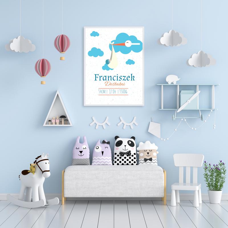 Plakat metryczka dziecka A3 personalizowana tablica klekotek