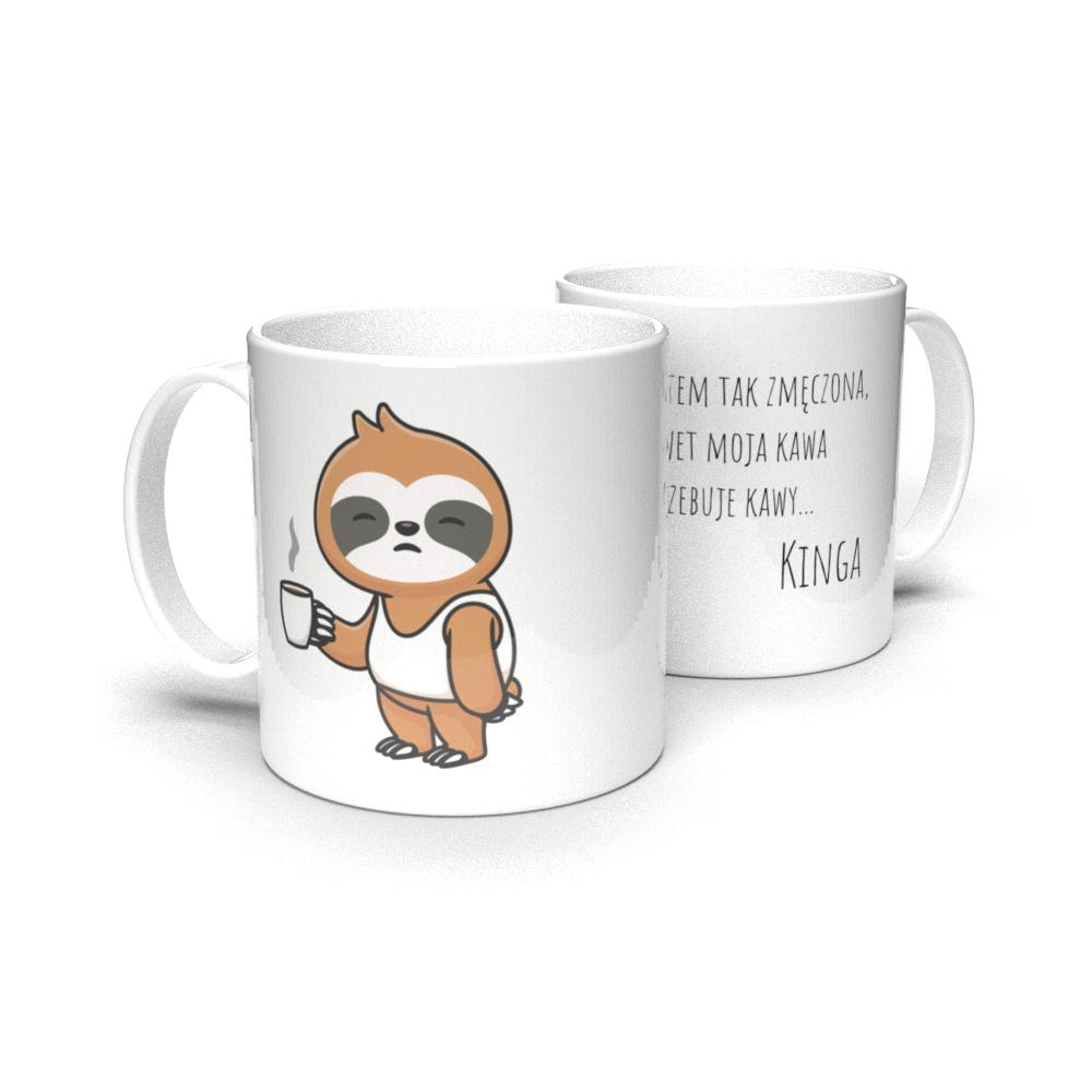Kubek personalizowany dla miłośnika kawy leniwiec