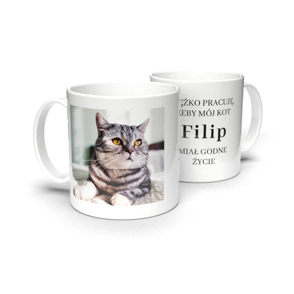 Kubek personalizowany dla właściciela kota ze zdjęciem godne życie