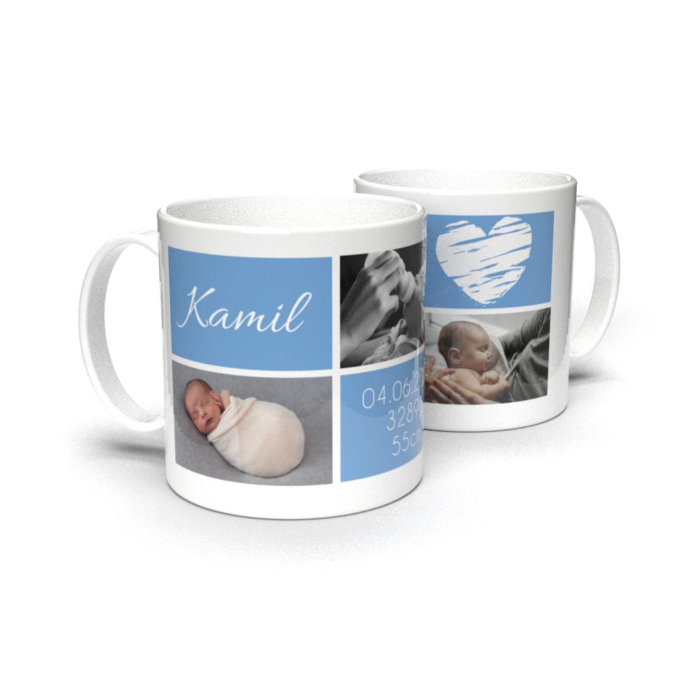 Kubek personalizowany ze zdjęciami metryczka na narodziny dziecka dla chlopca