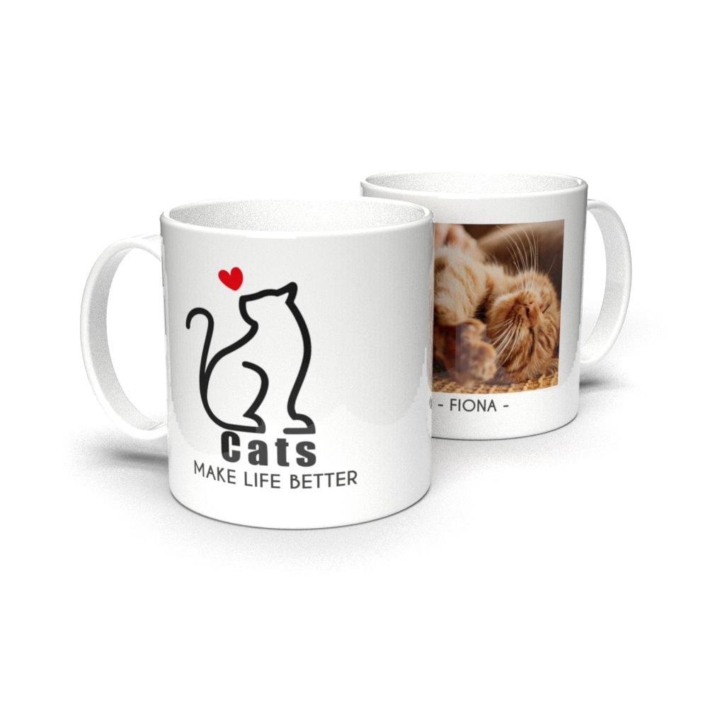 Kubek personalizowany ze zdjęciami cats make life better dla właściciela kota