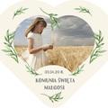 Magnesy personalizowane podziękowania dla gości serce zielone listka Komunia