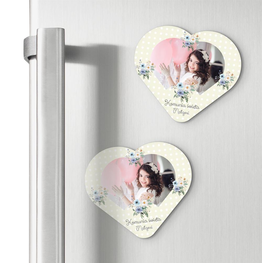 Magnesy personalizowane podziękowania dla gości serce kwiaty polne Komunia