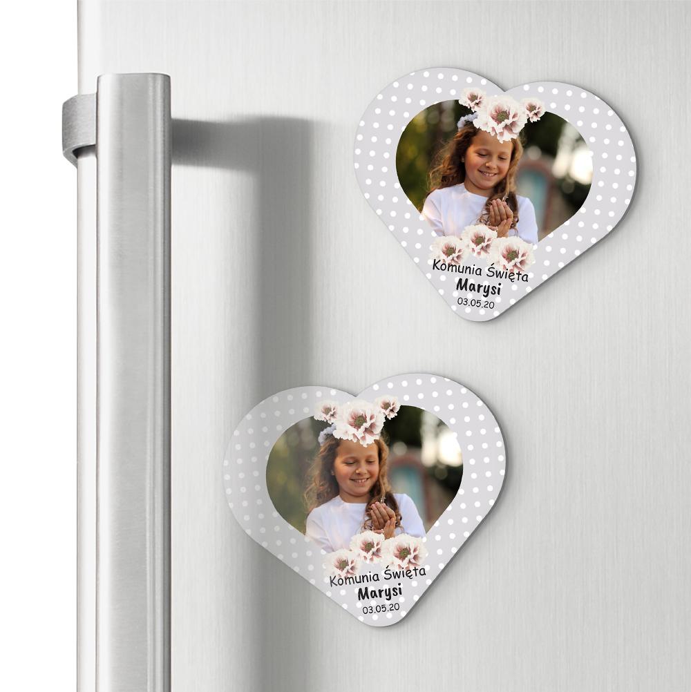 Magnesy personalizowane podziękowania dla gości serce szare kropeczki