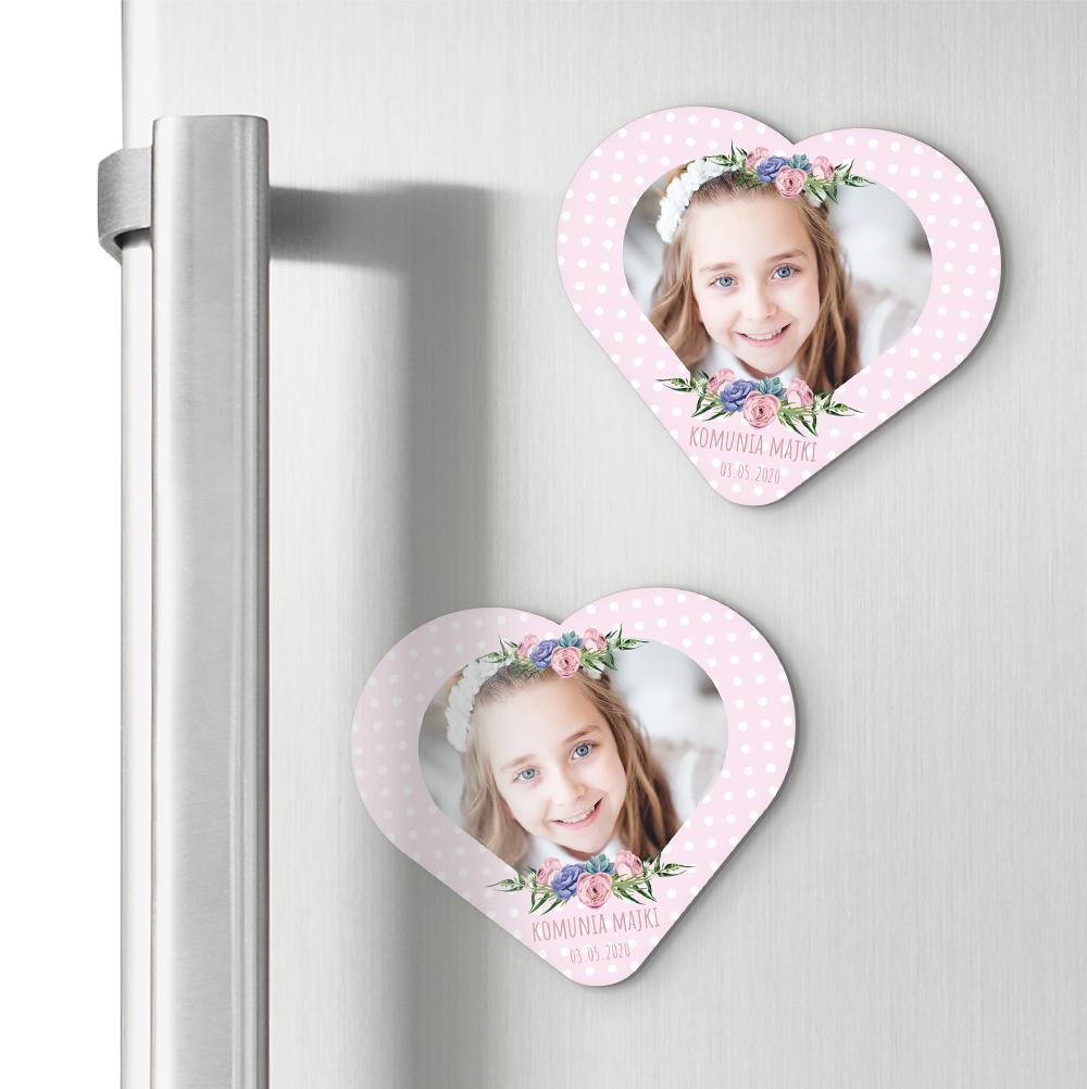 Magnesy personalizowane podziękowania dla gości serce różowe kropeczki