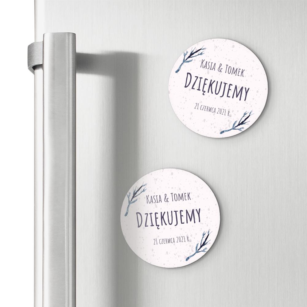 Magnesy personalizowane podziękowania dla gości boho gałązki
