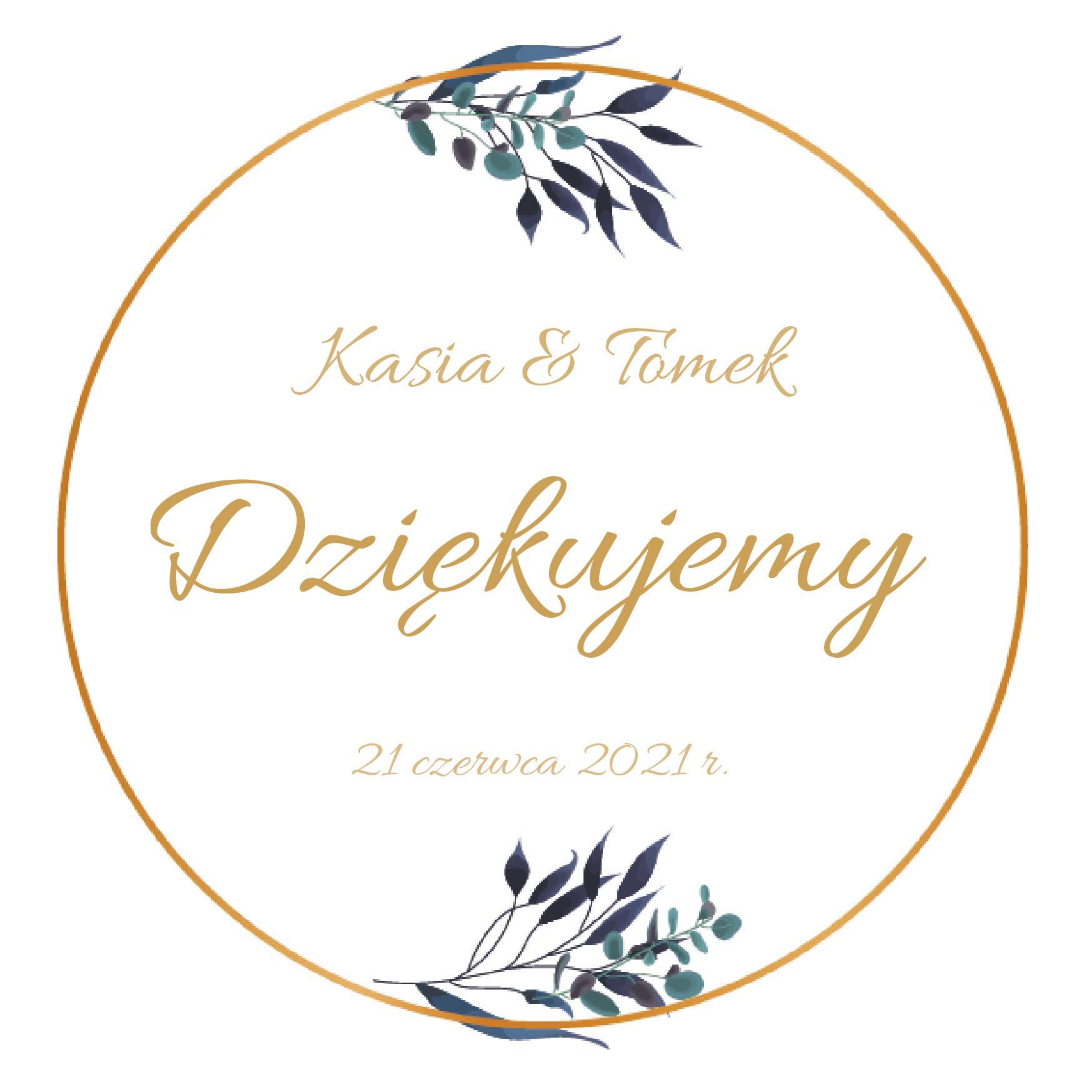 Magnesy ślubne personalizowane podziękowania dla gości rustykalne zielone listki - kopia