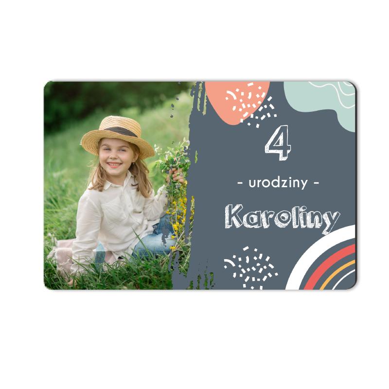 Magnes ze zdjęcie roczek urodziny pamiątka ze zdjęciem pastelowe kleksy