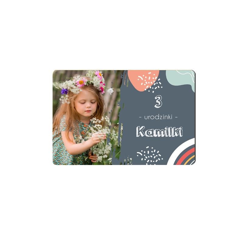 Magnes podziękowanie urodziny ze zdjęciem kolorowe kleksy