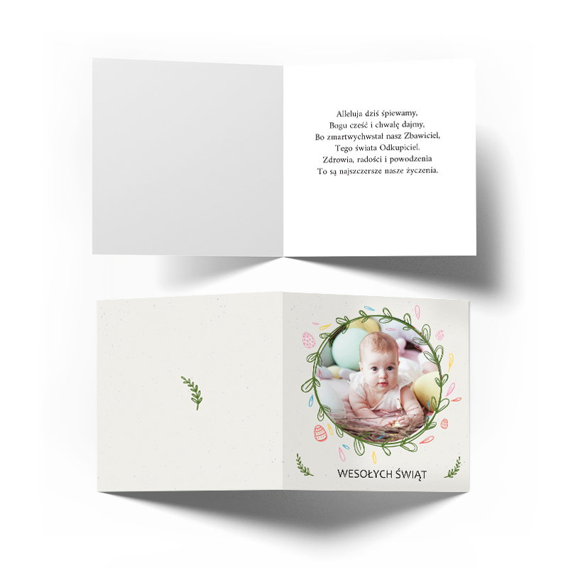 Kartka personalizowana na Wielkanoc ze zdjęciem palma bazie