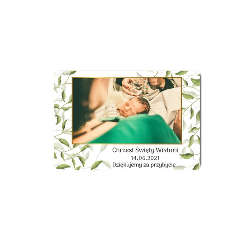 Magnes podziękowanie ze zdjęciem na chrzest delikatne zielone listka