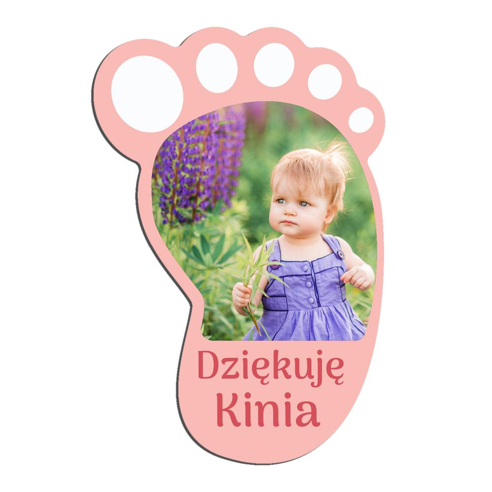 Podziękowania chrzest urodziny roczek magnes stopa dla dziewczynki