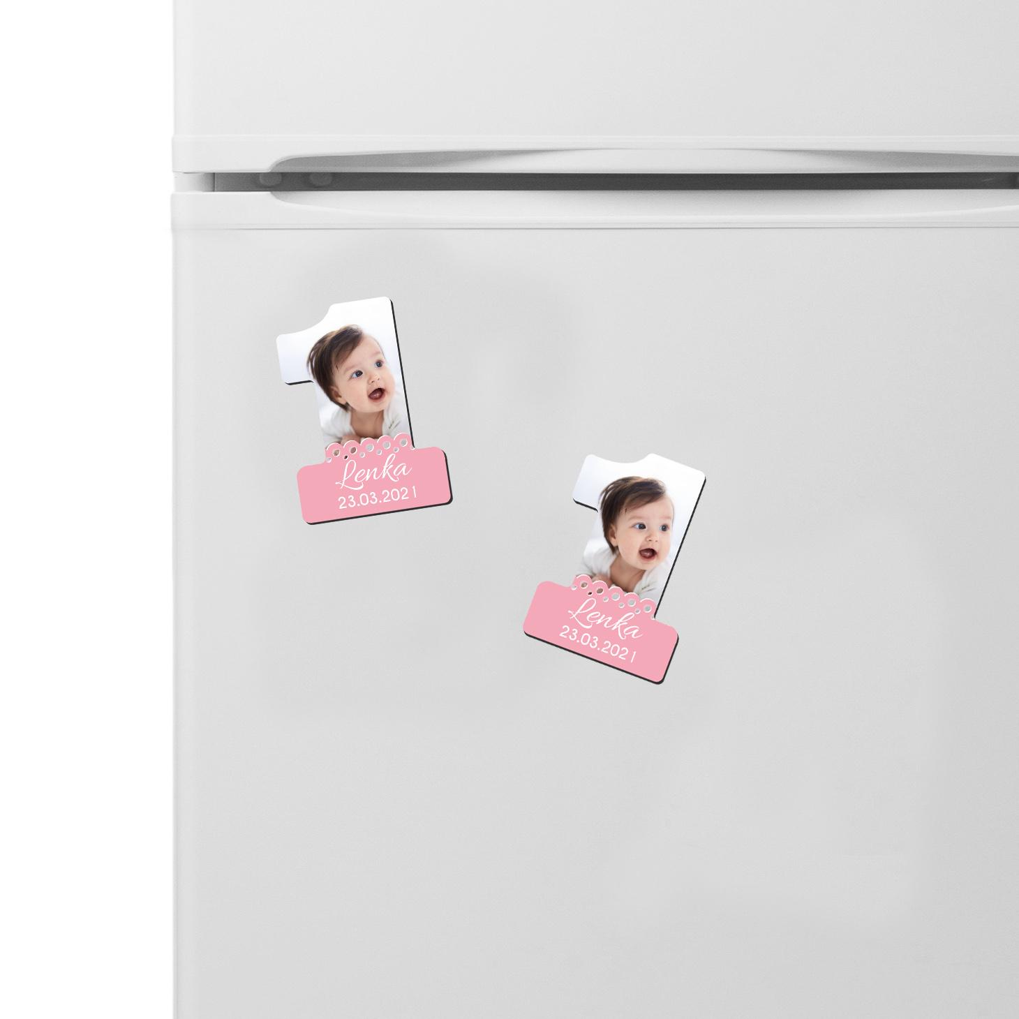Foto magnes podziękowanie urodziny roczek dla dziewczynki różowa mozaika