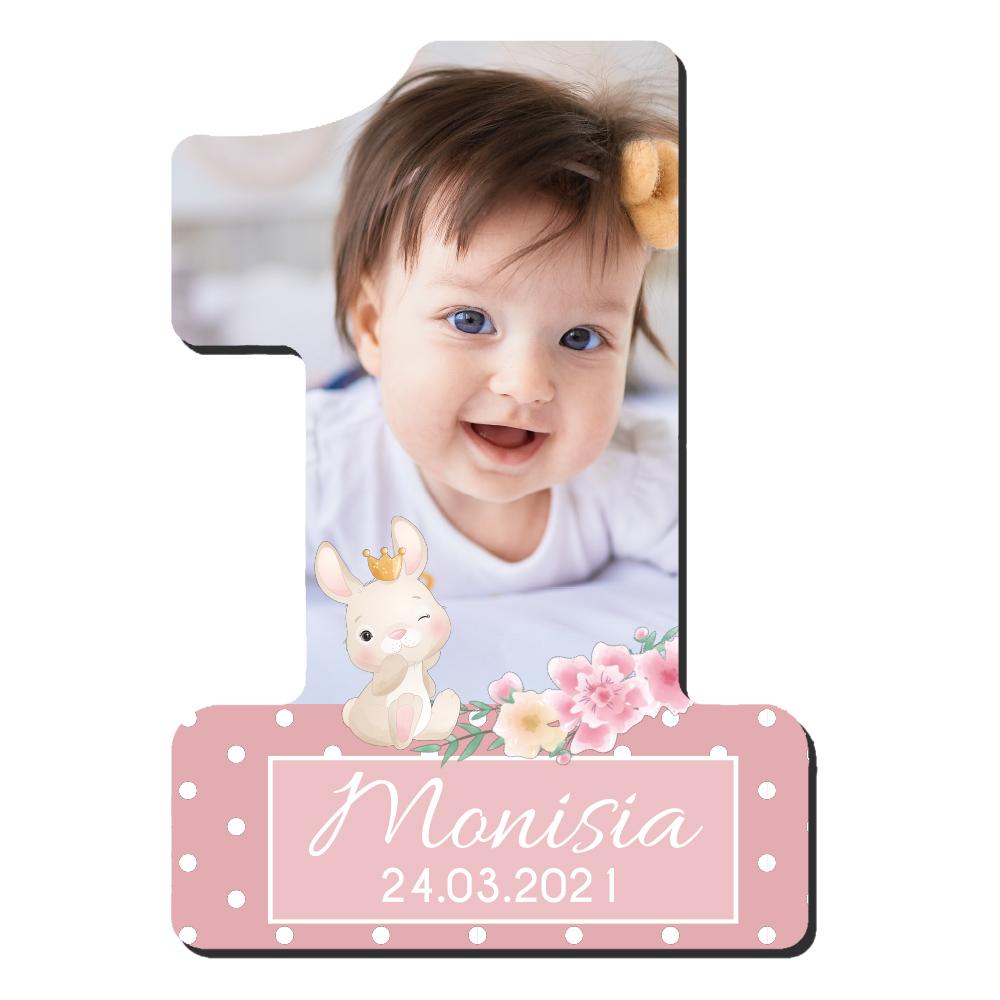 Foto magnes podziękowanie urodziny roczek pastelowy dla dziewczynki mozaika leśne zwierzątka