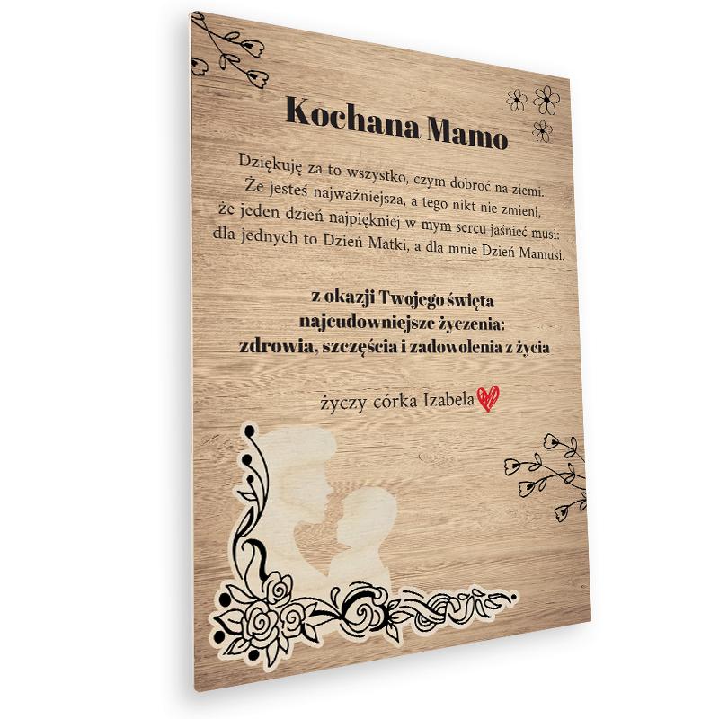 Deska z nadrukiem i życzeniami pamiątkowa na prezent dla mamy z grafiką