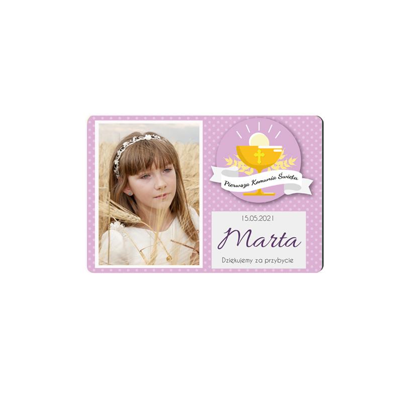 Podziękowanie magnes na komunię ze zdjęciem dla dziewczynki różowy