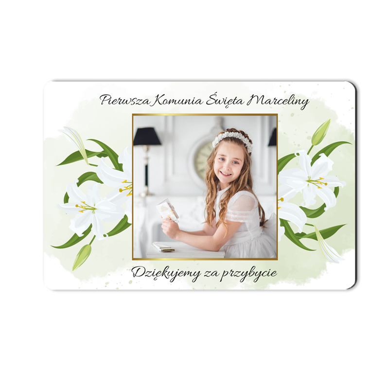 Magnes ze zdjęciem podziękowanie na komunię delikatne białe kwiaty lilie