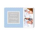 Magnes ze zdjęciami dla chłopca chrzest niebieski w kropki