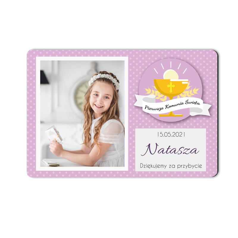 Podziękowanie magnes na komunię ze zdjęciem dla dziewczynki kolor różowy