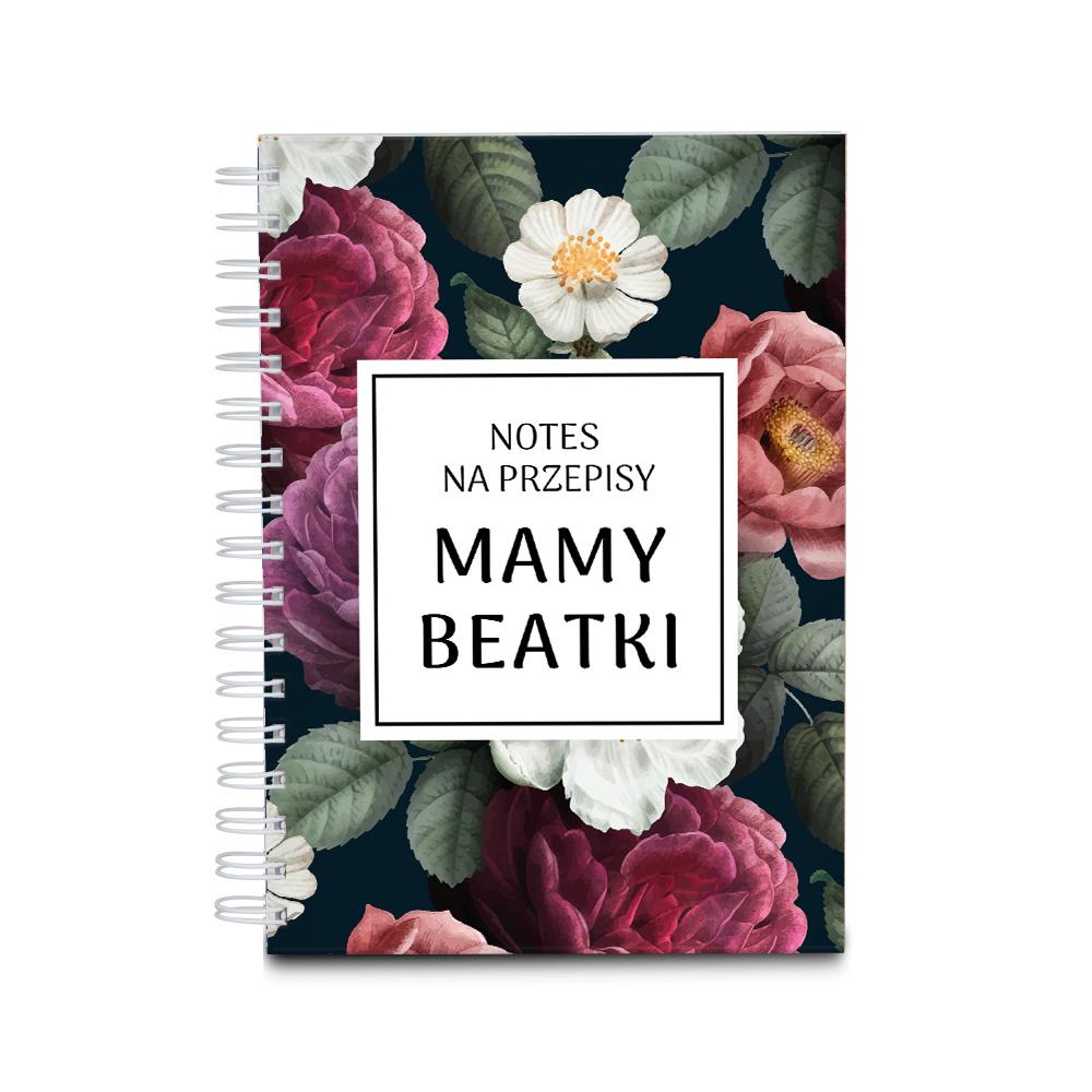 Przepiśnik zeszyt do przepisów kulinarnych prezent dla mamy kwiatowy na Dzień Mamy