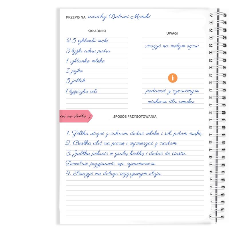 Przepiśnik zeszyt do przepisów kulinarnych na prezent dla mamy folklorystyczny tradycyjny
