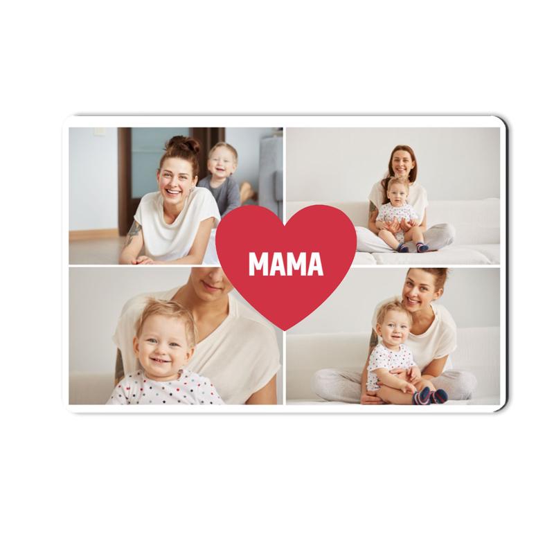 foto Magnes na lodówkę personalizowany kolaż zdjęć serce 15 x 10 cm na Dzień Mamy