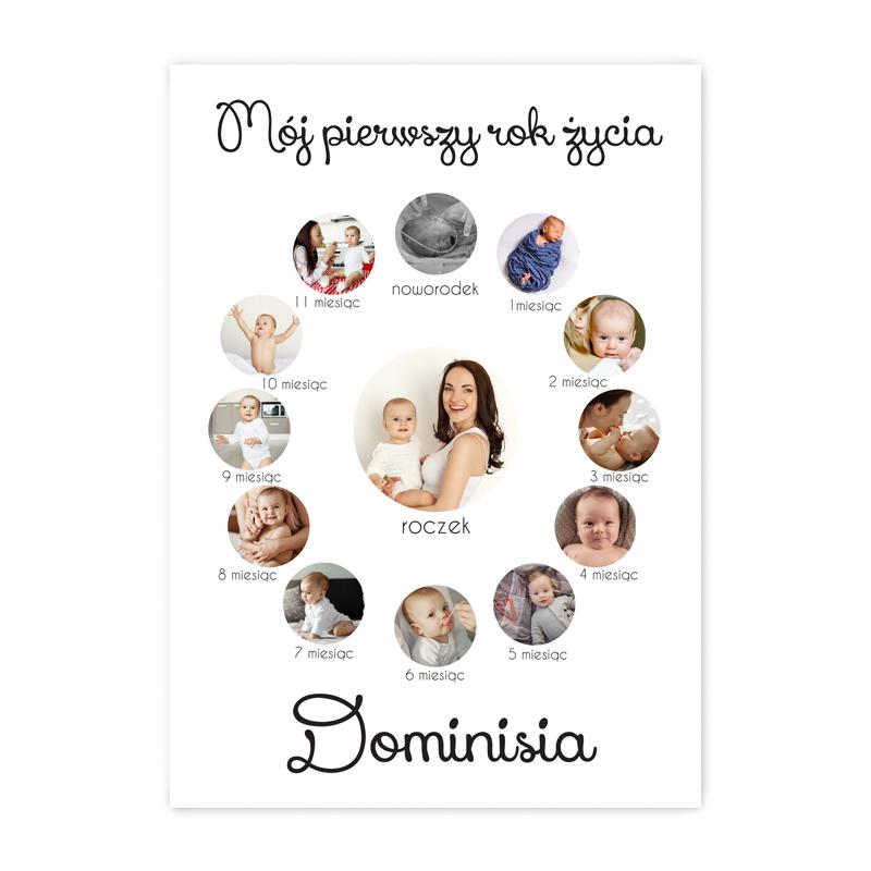 Personalizowany foto plakat ze zdjęciami rok życia dziecka A3