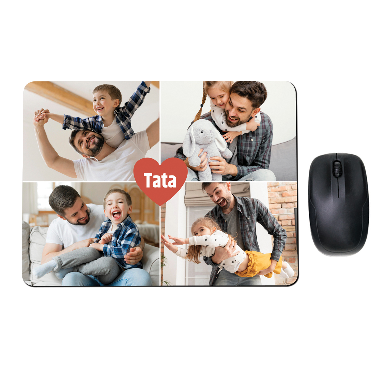Prostokątna podkładka ze zdjęciami kolaż na Dzień Ojca
