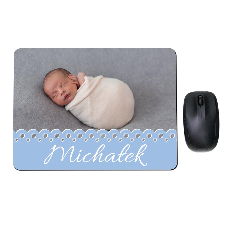 Prostokątna personalizowana podkładka pod mysz ze zdjęciem niebieski dla chłopca