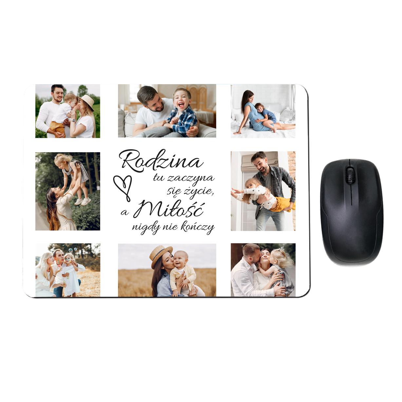 Prostokątna fotopodkładka pod myszkę ze zdjęciami kolaż rodzina