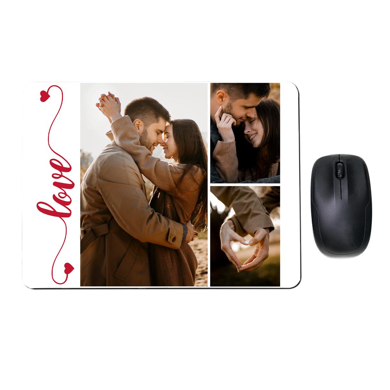 Kwadratowa podkładka pod mysz ze zdjęciami dla pary kolaż love