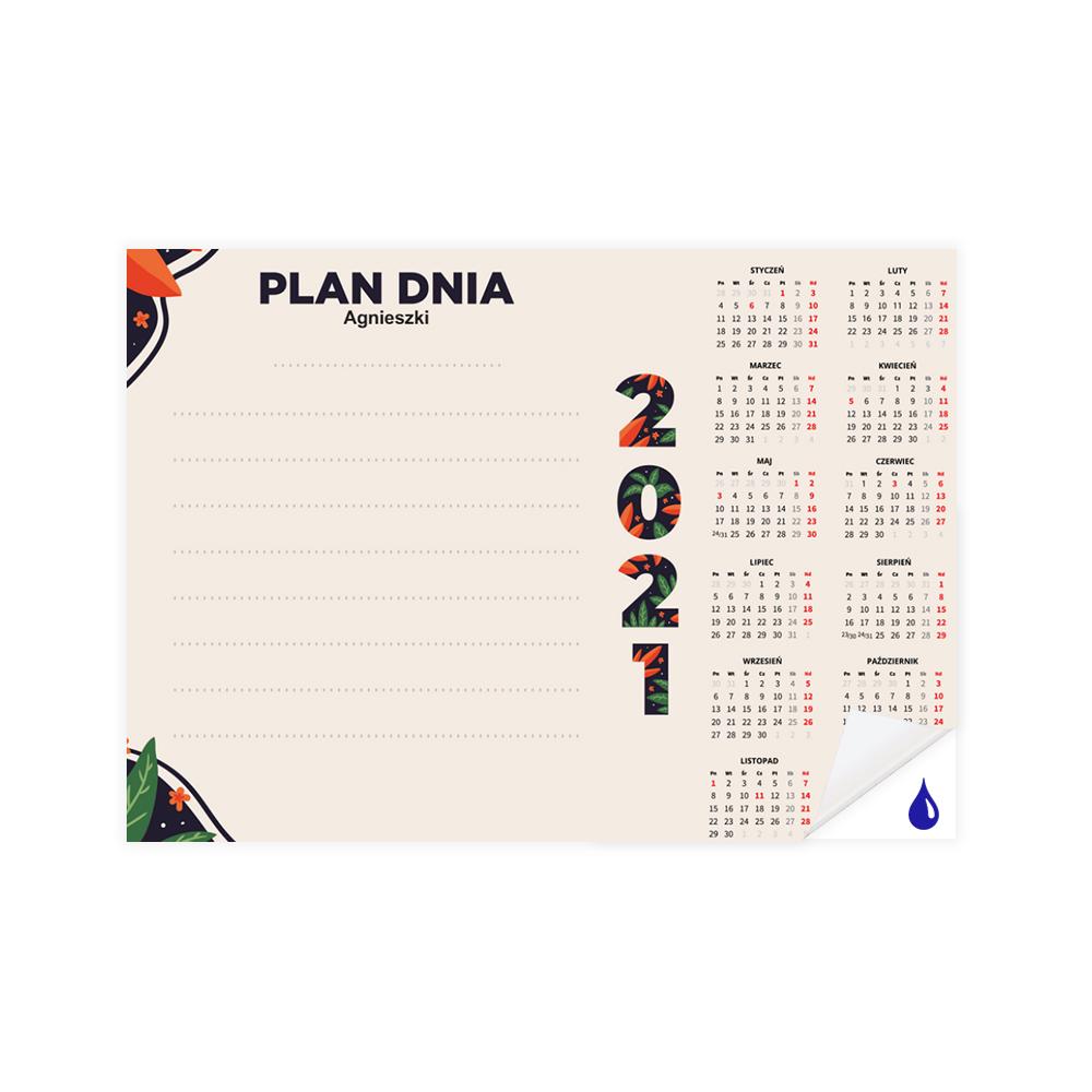 Planer samoprzylepny suchościeralny A3 dzienny z kalendarzem na 2021
