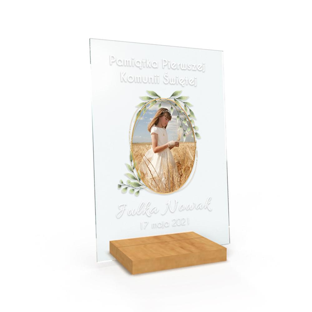 Personalizowana ramka plexi A4 ze zdjęciem foto pamiątka chrzest komunia zdjęcie w roślinach