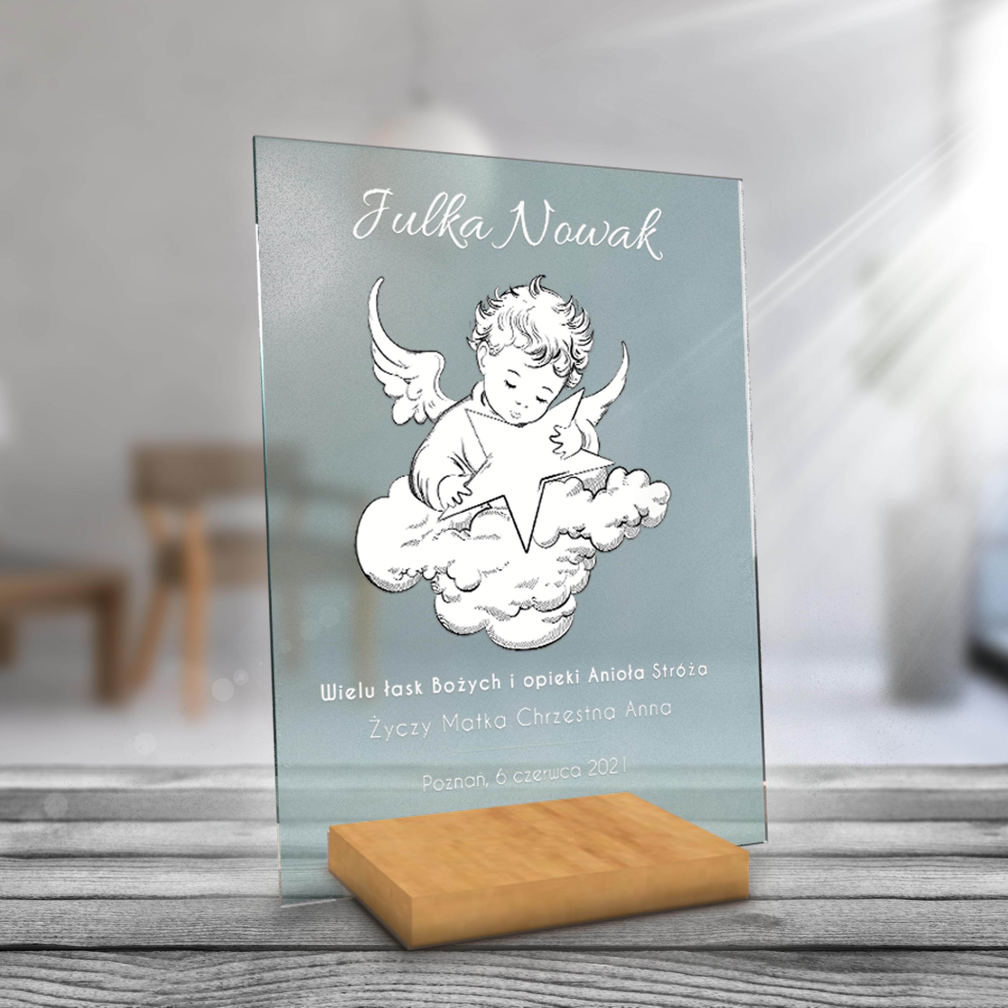Personalizowane plexi z nadrukiem A4 foto pamiątka chrzest komunia aniołek