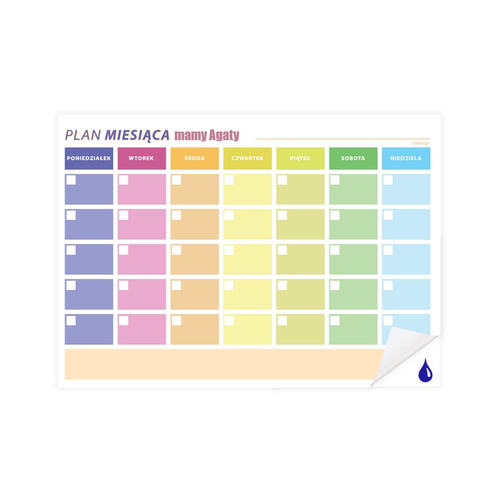 Planer kalendarz samoprzylepny suchościeralny miesięczny A2 wielokolorowy