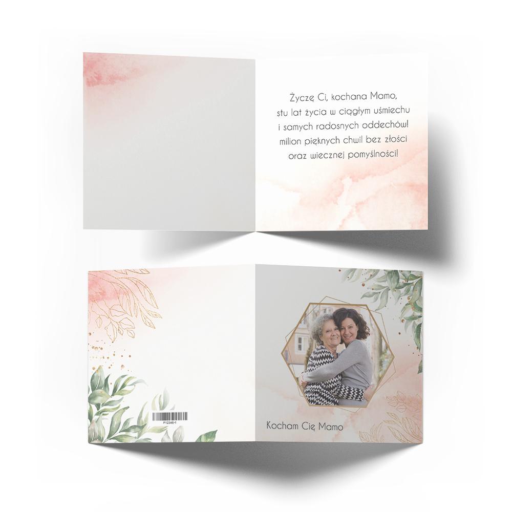 Kartka z życzeniami na Dzień Matki ze zdjęciem pastelowa dla mamy