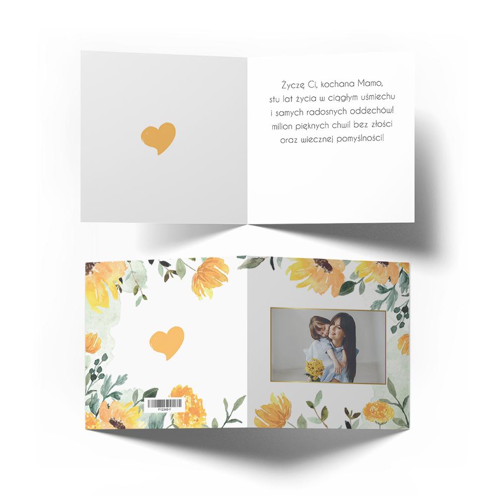 Kartka z życzeniami na Dzień Matki ze zdjęciem wzór kwiatowy słoneczniki