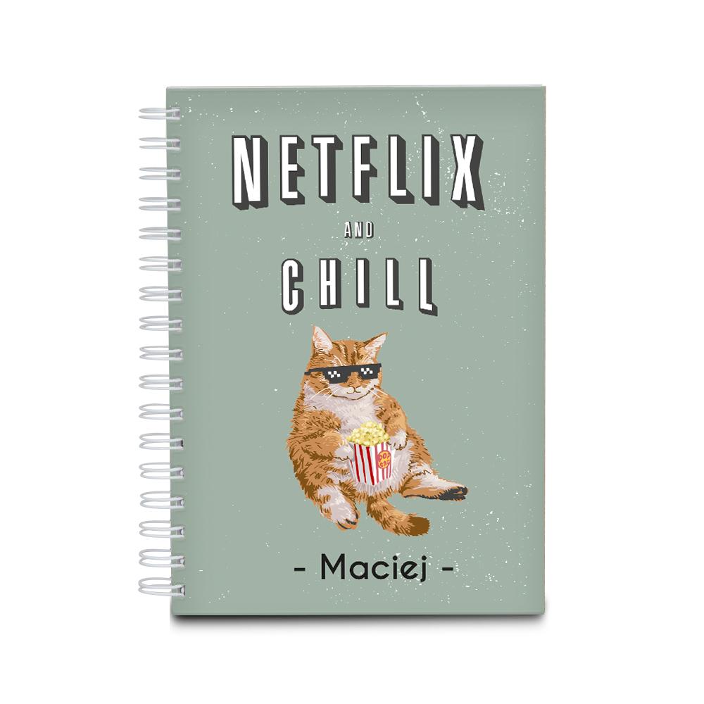 Notatnik personalizowany z kotem netflix and chill dla chłopaka