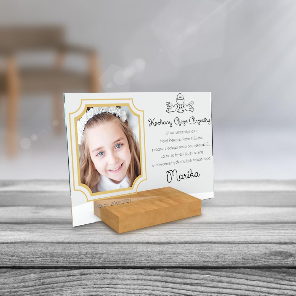 Plexi personalizowane ze zdjęciem 21x15 na komunię dla chrzestnej chrzestnego złota ramka