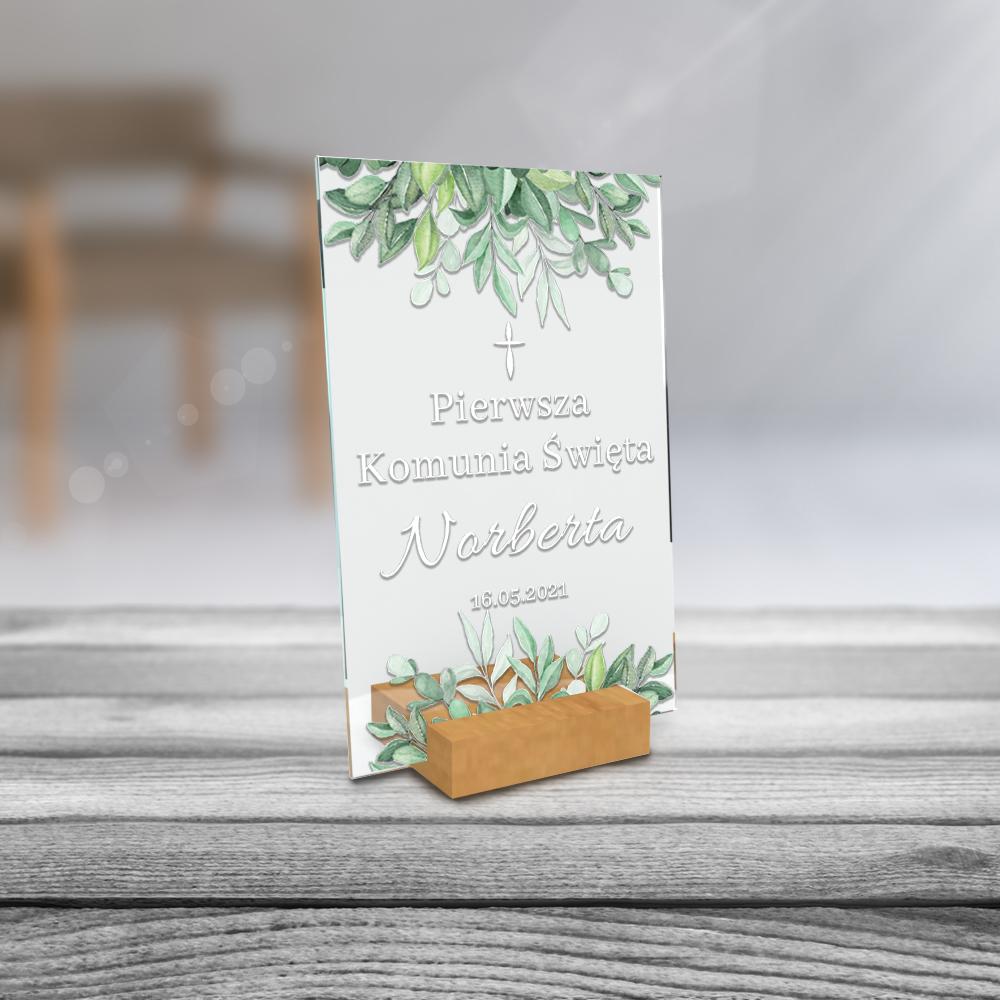 Personalizowane plexi ze zdjęciem 15x10 pamiątka od chrzestnej chrzesnego na chrzest komunię roczek