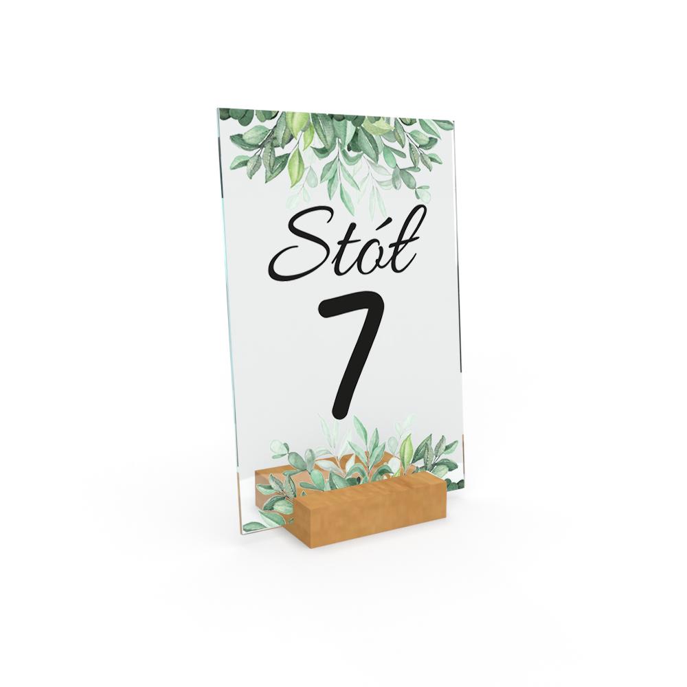 Personalizowane plexi ze zdjęciem 15x10 numeracja na stół weselny na ślub roślinki